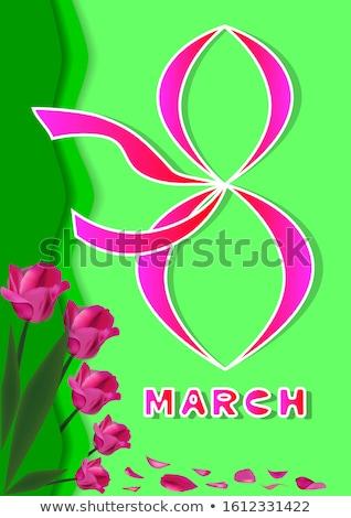 Szczęśliwy dzień kobiet kwiatowy kartkę z życzeniami projektu międzynarodowych Zdjęcia stock © articular