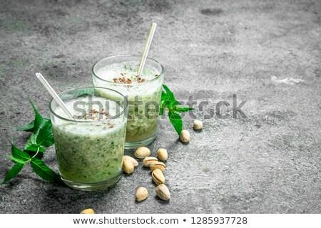 Egészséges zöld smoothie menta üveg öreg fából készült Stock fotó © Melnyk