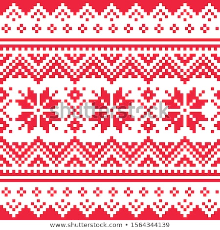 Christmas or winter vector seamless pattern, inspired by Sami Lapland folk art, traditional needlew Stock photo © RedKoala