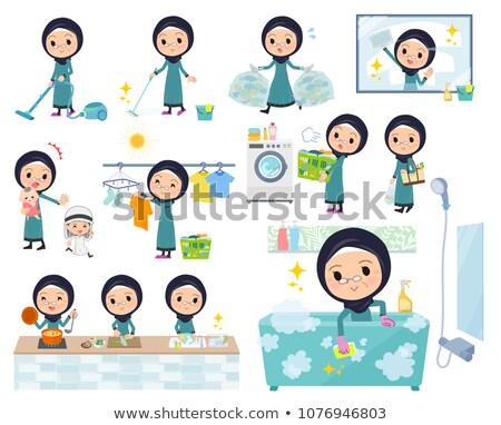 Arab old women_housekeeping stock photo © toyotoyo
