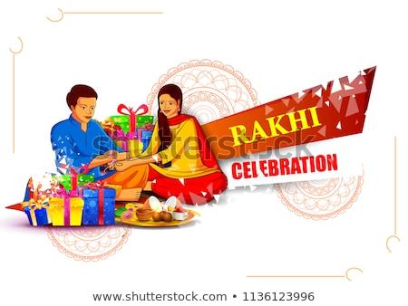 Décoré indian festival fond plaque cadeau Photo stock © stockshoppe