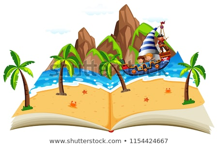pirate boat with children pop up book stock photo © bluering