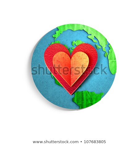 big red heart with world map Stock photo © zven0