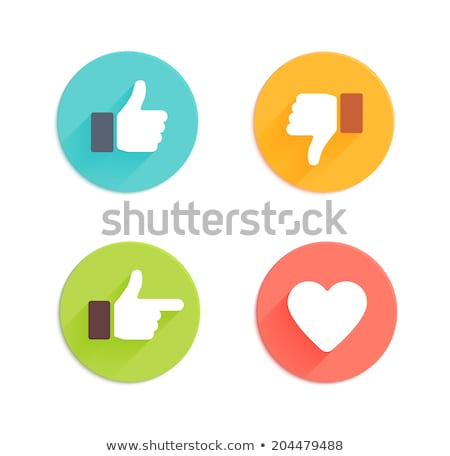 Like Icon. Flat Hand, Thumbs up and heart. Vector Stock photo © Andrei_