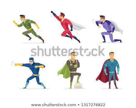 Fighting superhero - modern cartoon people character illustration Stock photo © Decorwithme
