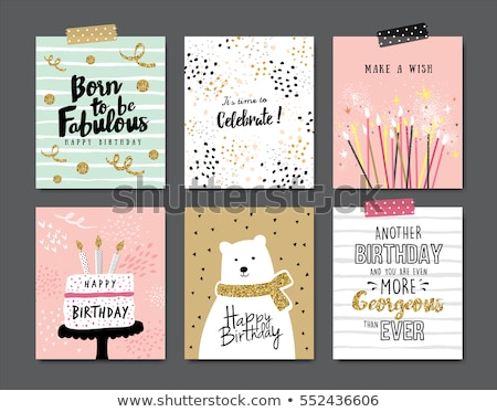 happy birthday collection of celebration cards stock photo © robuart