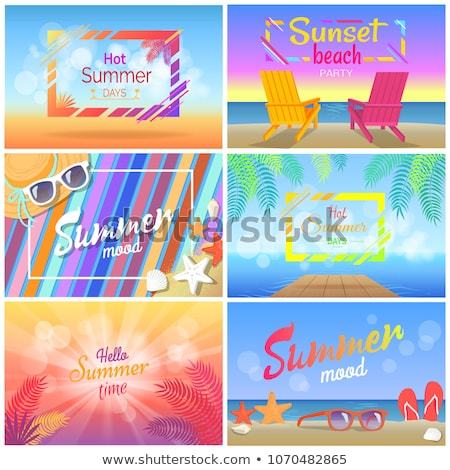 Sunset Beach Party Hot Summer Days Poster Sunbeds Stock photo © robuart