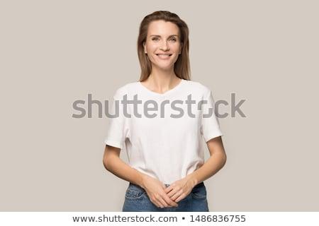 zarif · genç · kadın · beyaz · elbise · poz - stok fotoğraf © acidgrey