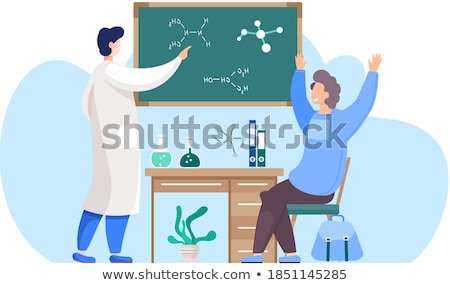 chemistry teacher sitting on blackboard background stock photo © jossdiim