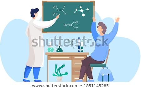 Kimya öğretmen oturma tahta sınıf profesör Stok fotoğraf © jossdiim