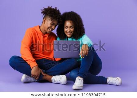 iki · gülen · afro · amerikan · dizüstü · bilgisayar · kullanıyorsanız - stok fotoğraf © deandrobot