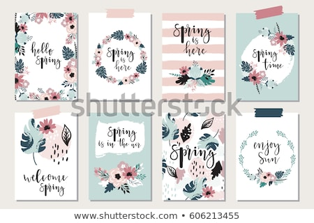 Save the date card with flowers. Hand drawn brush calligraphy. Modern lettering background. Isolated stock photo © kollibri