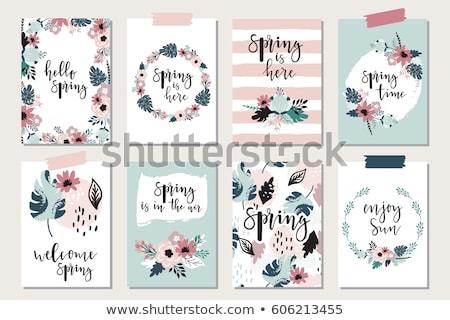 Guardar fecha tarjeta flores dibujado a mano cepillo Foto stock © kollibri