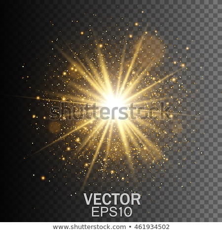 Stock photo: Transparent glow light effect. Star burst with sparkles. Gold glitter. Vector illustration