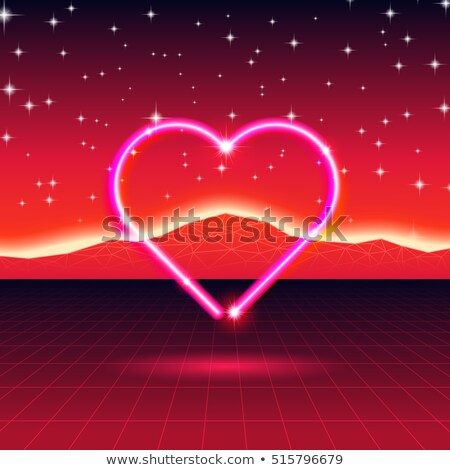 80s styled retro futuristic card with neon heart in computer wor Stock photo © SwillSkill