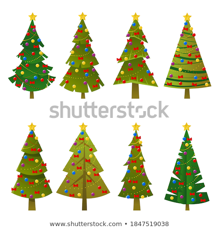 set of different christmas trees icon happy new year concept stock photo © marysan