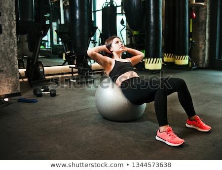 Stok fotoğraf: Genç · kadın · egzersiz · top · mutlu · spor · salonu