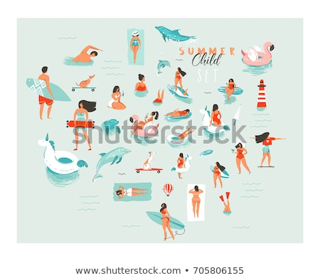 Foto stock: Pessoas · natação · água · desenho · animado · vetor · ícone