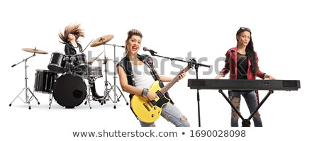muziekinstrumenten · fase · gitaar · trommel · ingesteld · saxofoon - stockfoto © colematt