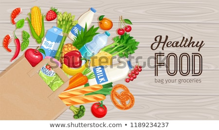 paper bag with vegetable food and water on table Stock photo © dolgachov