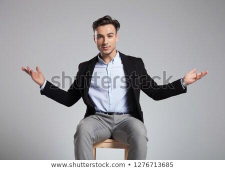 красивый сидящий бизнесмен свет Сток-фото © feedough