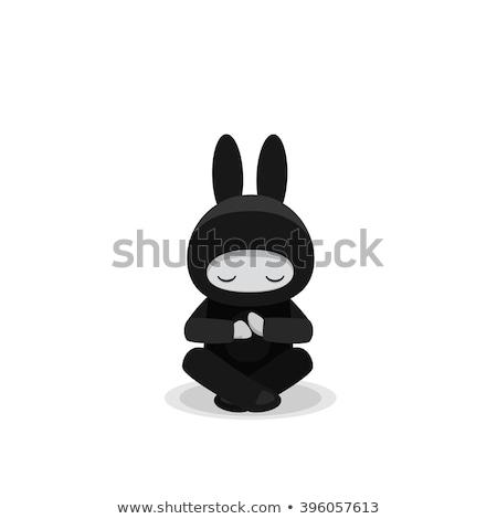 Desenho animado pequeno ninja sessão ilustração crianças Foto stock © cthoman