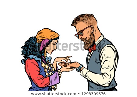 Gypsy palmist and hipster. Isolate on white background Stock photo © studiostoks