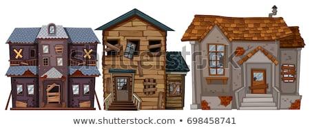 Vieille maison brisé fenêtres porte illustration bâtiment Photo stock © colematt