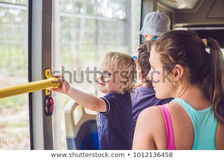 Stock fotó: Anya · fiú · busz · utazó · gyerekek · nő
