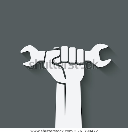 Manual worker with wrench symbol. Stock photo © ra2studio