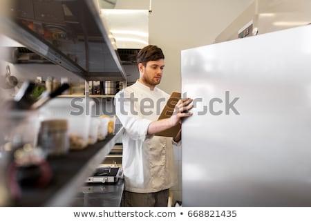 Chef presse-papiers inventaire cuisine cuisson profession Photo stock © dolgachov