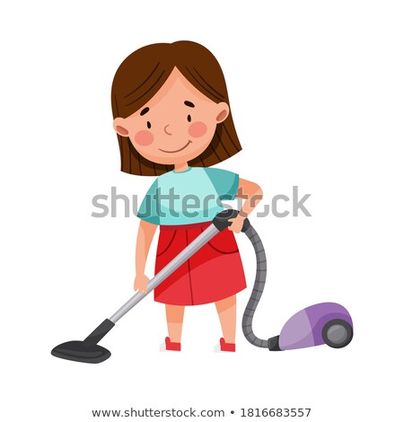 little girl vacuuming floor in house vector isolated illustration stock photo © pikepicture