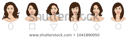 Stock photo: Set of different female face shapes with different hairstyle. There are oval, square, round, long, d