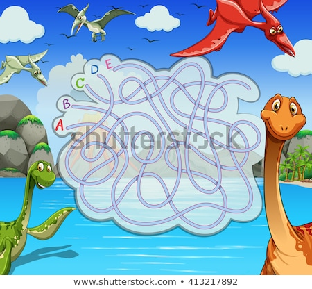 a dinosaur board game template stock photo © colematt