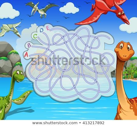 Dinoszaurusz társasjáték sablon illusztráció tengerpart mosoly Stock fotó © colematt