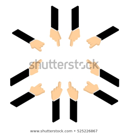 set of signs of directions form of pointing fingers isolated on white background vector cartoon clo stock photo © lady-luck