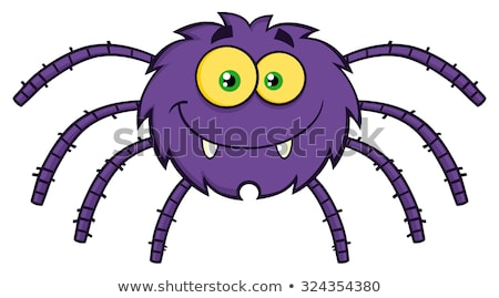 Smiling Purple Halloween Spider Cartoon Character On A Web Stock photo © hittoon