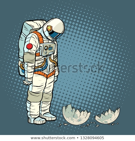 Stok fotoğraf: Guilty Astronaut Looks At The Ruined Moon