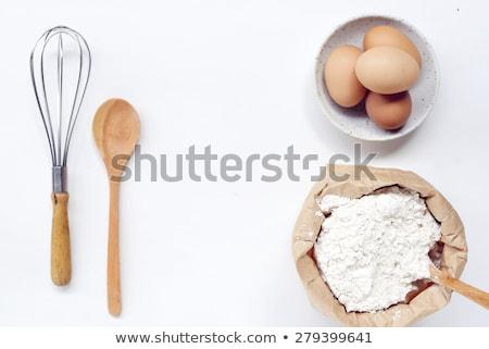 Foto stock: Vintage Wooden Whisk And Eggshells