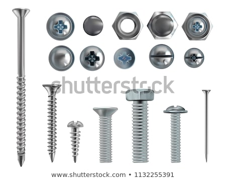 Realistic Types Of Iron Screw And Nail Set Vector Сток-фото © pikepicture