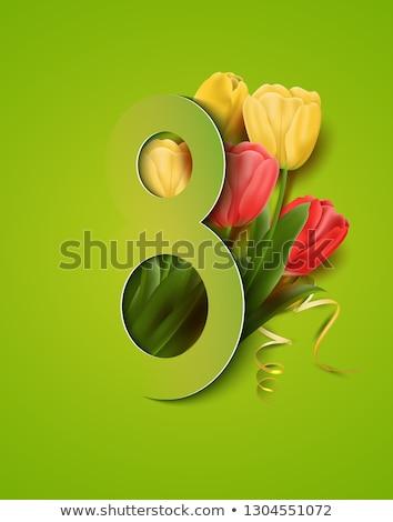 madre · día · tarjeta · amarillo · tulipanes · vector - foto stock © frimufilms