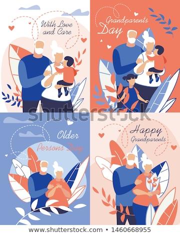 Boldog nagyszülők vektor rajz illusztráció nagypapa Stock fotó © brahmapootra