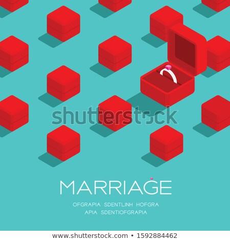 Diamond Silver Ring In Square Box Banner Vector Stock photo © pikepicture