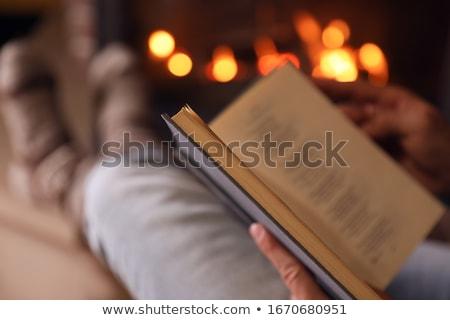 Człowiek czytania książki posiedzenia ognisko domu Zdjęcia stock © robuart