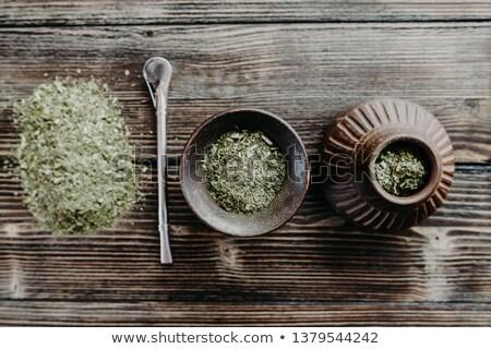 companheiro · chá · tradicional · folha · fundo · beber - foto stock © grafvision