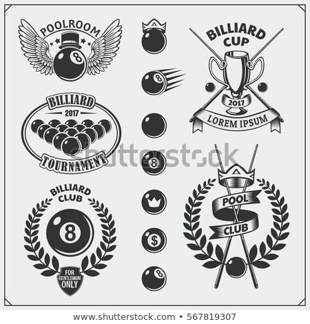 Vintage бильярдных набор Этикетки дизайна клуба Сток-фото © netkov1