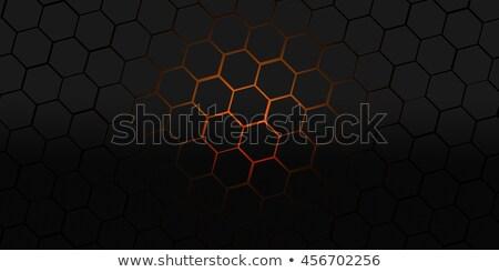 black background with orange hexagonal pattern Stock photo © SArts
