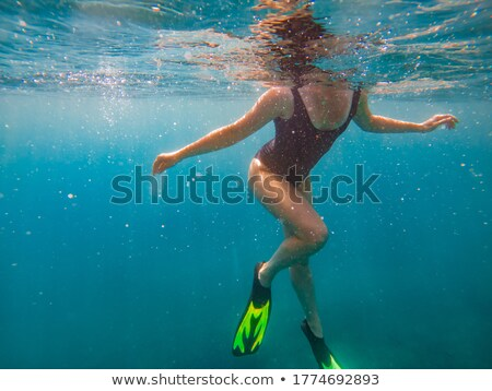 Back view of a woman with mask swimming underwater Stock photo © boggy