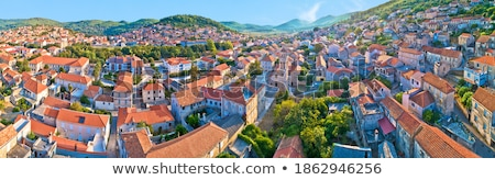 Historic town of Korcula towers and town gate aerial panoramic v Stock photo © xbrchx