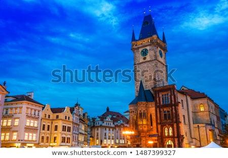 Cidade velha cidade ouvir noite Praga prefeitura Foto stock © borisb17